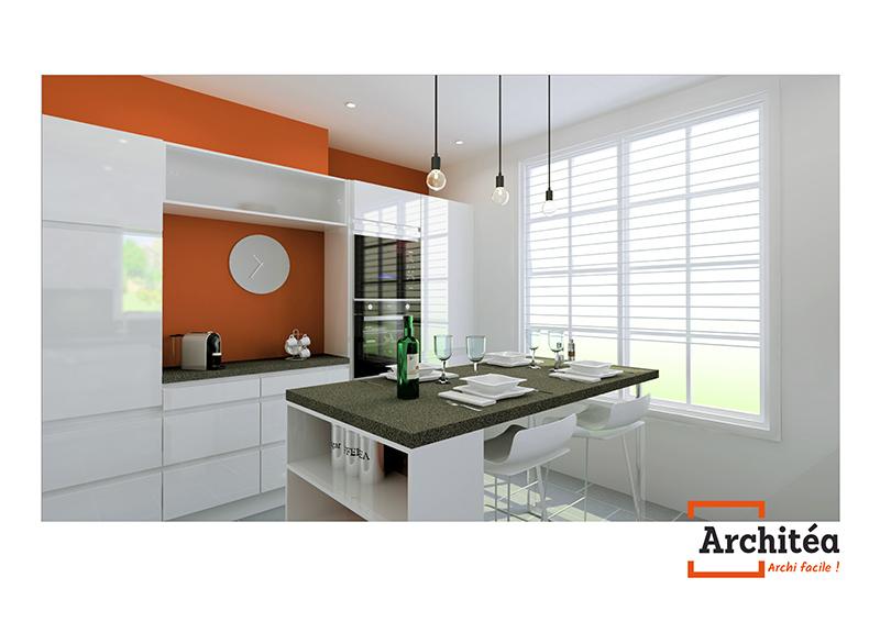 vue 3d d'une cuisine Archité